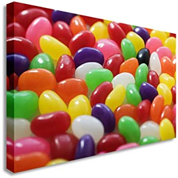 MultiColour Jelly Sweets Jelly Beans Absract Wall Picture Canvas Art Cheap Print