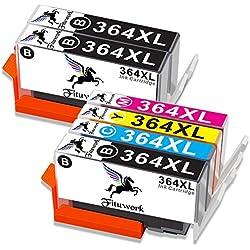 Fituwork 6PK (3B1C1Y1M) Cartuchos de tinta compatibles para 364XL 364 XL Uso en HP Photosmart 5510 5511 5512 5514 5515 5520 5522 5524 6510 6520 6512 6515 7510 7520 7515 B8550 B8558 B110c B010a C5370 C5383 C5388 C6324 C6380 D5460 D7560 C310a C410a B209a B210a Deskjet 3070A