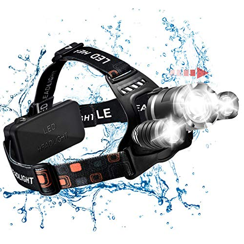 TOPELEK LED Stirnlampe Taschenlampe 5000lm super helle Kopfleuchte Kopflampe 4 Modi, Fokus einstellbar, USB wiederaufladbar, IPX4 wasserdicht, für Joggen Campen Wandern Laufen Radfahren Nachtfischen