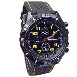 Webla Reloj para hombre, Hombres de silicona reloj de cuarzo militar relojes deporte al aire libre reloj (Amarillo)