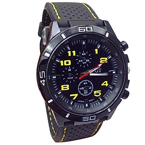 Familizo Men Quartz Military Watches Sport Silicone Wristwatch (Yellow)