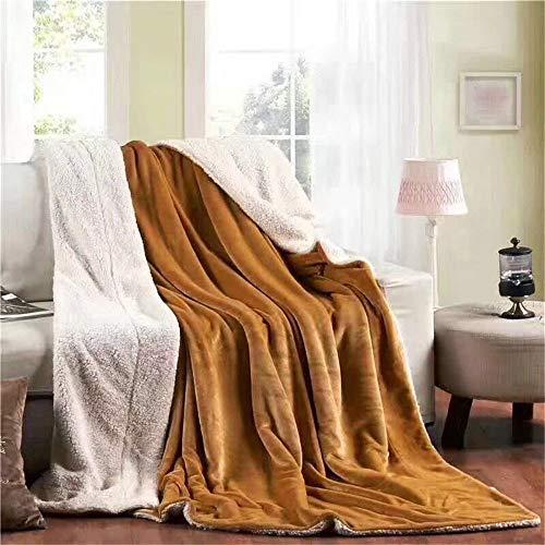Tan-100% Kaschmir (FDOU Decke wirft Luxus Flanell und Lamm-Kaschmir-Decken 100% Microfiber,150 x 200 cm Ultra weiche Glatte flaumige warme verdicken Decke,wirft Decken für Sofabett-Reise,helles tan)