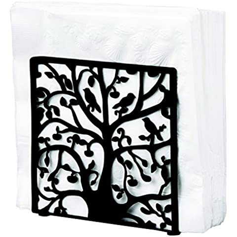 Black Metal Tree & Bird Design Tabletop Napkin Holder / Freestanding Tissue Dispenser - MyGift® by MyGift