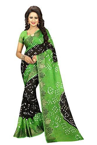 Divine International Women's Art Silk Darpan Border Bandhani Sarees (Green Black)