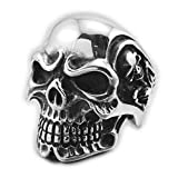 Linsion, anello da uomo, in stile vintage, in acciaio, a forma di teschio anello, color argento anticato, per biker, stile funk Rock 3A001 e Acciaio inossidabile, 33, cod. 3A001--14