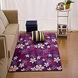 Golden_flower Flanell Drucken und Färben Bodenmatte Drucken Korallen Vlies Wohnzimmer Schlafzimmer Couchtisch Teppich, Lila,