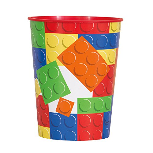 Unique Party 58237 16 Oz Bausteine Geburtstag KUNSTSTOFF Tasse (Supplies Geburtstags-party Lego)
