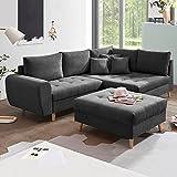 Riess Ambiente Design Ecksofa Baltic Anthrazit 250cm Nosag Polsterung mit Hocker und Kissen Ottomane Rechts Couch Sofa