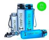 Funny Tree® Trinkflasche. Tritan Elite Sports Bottle 1000ml. BPA frei und auslaufsicher! Geeignet für Sport / Freizeit / Outdoor / Reisen / Schule / Beruf (blau, 1000ml)