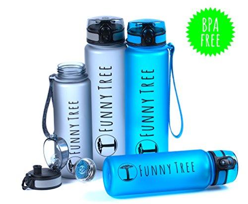 Funny Tree® Trinkflasche aus Tritan. 1000ml Ocean Blue. BPA frei und auslaufsicher! Ideal beim Sport, beim Fitness und Wellness, oder auf All deinen Outdoor Aktivitäten sowie auf Reisen.