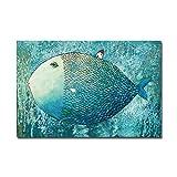 LIEFENGDAO Kunst Große Fische Leinwand Poster Minimalistischen Malerei Kawaii Cartoon Kinderzimmer Wand Bild Drucken Baby Zimmer Dekoration, A4 21X30 cm Kein Rahmen, Bild 1
