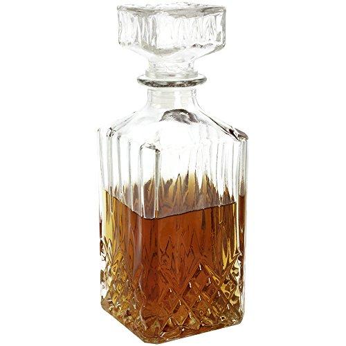 COM-FOUR® Klassische Glaskaraffe 900 ml, für Whiskey, Cognac, Likör - Whiskey-Karaffe
