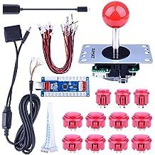 Quimat Cero Retraso Juego de Arcade Joystick USB Codificador Kit de Bricolaje PC para Mame Jamma y Juego de Lucha QR02 (Rojo (versión actualizada))