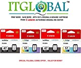 #10: CANON PG 47 Black & CL 57 Small Color - 2 Each [Set of 4 Cartridge] -Special ITGLOBAL Combo With Scratch & Win Reward Offer - From ITGLOBAL