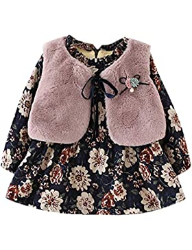 Togelei Neugeborenen Mädchen Floral und Samtkleid Mode Pelz Weste zweiteilige wilde Prinzessin Kleid Baby Mädchen...