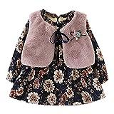 cinnamou Neugeborenen Baby Mädchen Weste Prinzessin Kleid Set Faux Fur Floral Warme Outfits(0-2T