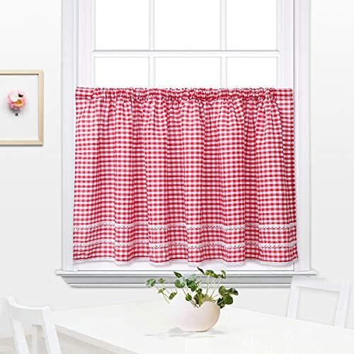 Mantovane per tende , tende cucina country , tendine a quadretti buffalo check , tenda a rete per cucina, sala da pranzo, bar, cotone lino rosso 60x150cm