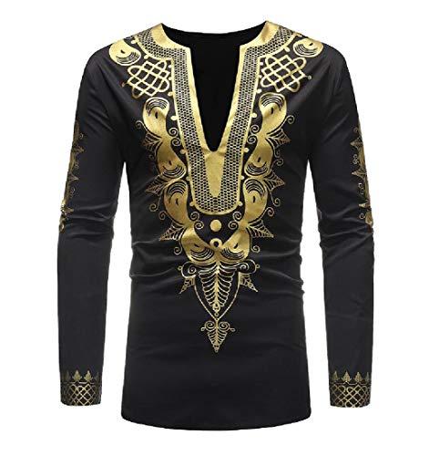 Aooword-men clothes Herren vogue afrika pullover langarm dashiki mit v-ausschnitt autumn t-shirt X-Large Schwarz