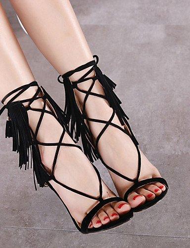 LFNLYX Chaussures Femme-Bureau & Travail / Habillé / Soirée & Evénement-Noir-Talon Aiguille-Talons-Sandales-Cuir Black