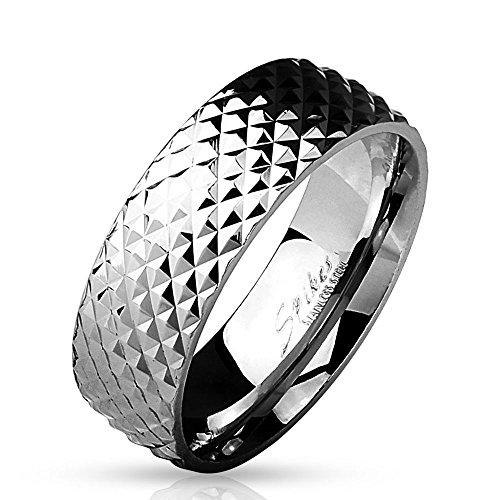 Bungsa 64 (20.4) Ring Silber in Pyramidenoptik für Herren Edelstahl (Männer Fingerring Herrenring Edelstahlring Chirurgenstahl Nieten)