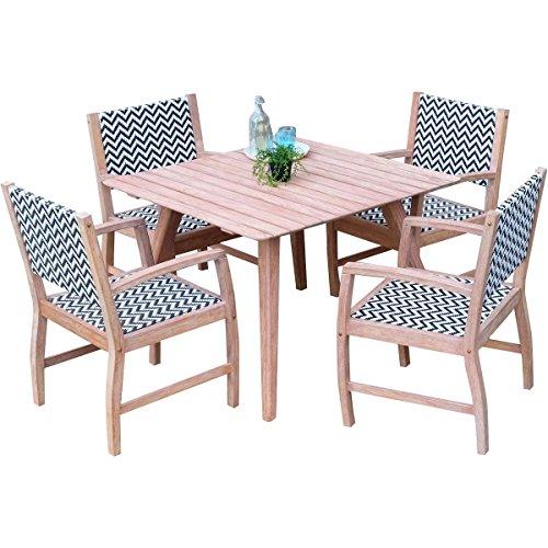 Jardin esstischgruppe Abbey – 1 table + 4 chaises – Acajou/rotin
