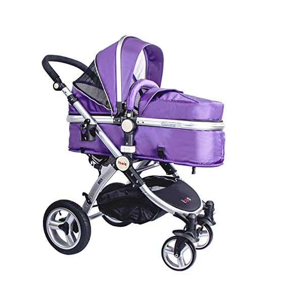 High Quality Baby Stroller IBEIS Prams 2 in 1 for Newborns European Folding Baby Carriage for 0 to 36 Months (Purple) IBEIS 360 degrees turn Easy fold-able button Tiltable (various angles) 1