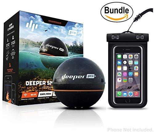 Deeper Smart Sonar PRO+ Serie, 6,4 cm, Schwarz - GPS, Wi-Fi Connected Wireless, Castable, Tragbarer Smart Fishfinder für iOS- und Android-Geräte & Universal wasserdichte Handyhülle (zufällig)
