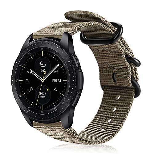 Fintie Armband kompatibel für Galaxy Watch Active2/ Active/Galaxy Watch 42mm/Gear Sport/Gear S2 Classic - Premium Nylon Uhrenarmband verstellbares Sport Ersatzband mit Edelstahlschnallen, Khaki -