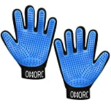 OMORC Upgraded Pet Grooming Gloves Mitts - Left & Right - Hair Remover Gentle Deshedding Gloves for Dog Cat Horse Rabbit and More - Pet Bathing Massage Gloves