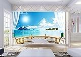 Yosot 3D Stereoskopische Foto Tapete Fenster Landschaftstapete Für Wände Außerhalb Landschaft Brick Tapete 3D Wohnzimmer Wandbild-140Cmx100Cm