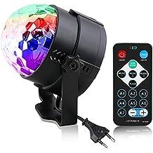 Luces Discoteca,Mini Luces de Etapa Lámpara Mágica RGB efecto LED Llámpara de Eetapa Rotación de Bola de Cristal con Control Remoto para DJ,KTV, Bar, Boda bar Fiesta