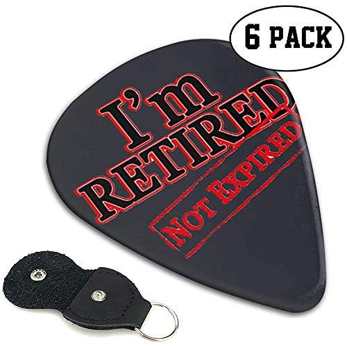 Klassische Gitarren-Plektren (6er Pack) Ich bin im Ruhestand Nicht abgelaufene Plektren für E-Gitarre, Akustikgitarre, Mandoline und Bass