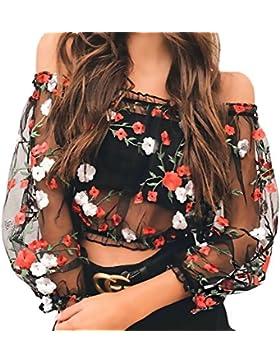 Targogo Crop Top Mujer Primavera Camisetas T-Shirt Manga Larga Transparentes Tul Sin Hombro Camisas Elegantes...