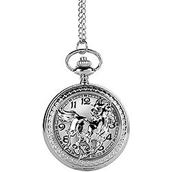 YESURPRISE Steampunk Antique Silver Bronze Men Quartz Pocket Watch Retro Necklace Pendant Horse