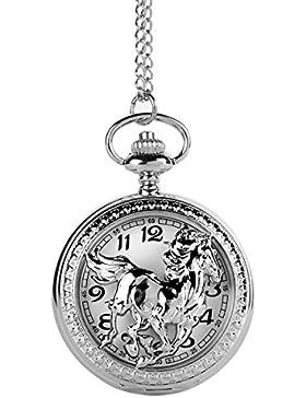 UniqueBella Bronze Taschenuhr Analog Quarz Uhr Halskette kette Watch Geschenk Silber Pferd