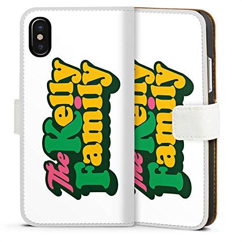 Apple iPhone SE Silikon Hülle Case Schutzhülle The Kelly Family Logo Offizielles Lizenzprodukt Sideflip Tasche weiß