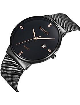 [Gesponsert]Uhren, Herren Uhren Damen Unisex Wasserdicht Einfache Casual Analog Quarz Armbanduhr mit schwarz Mesh Armband
