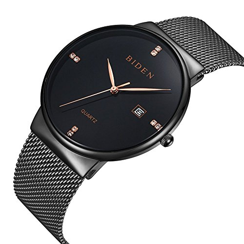 ALPS Mens Womens Unisex Waterproof Simple Casual Analog Quartz Dress Wrist Watch With Mesh Bracelet (Black)