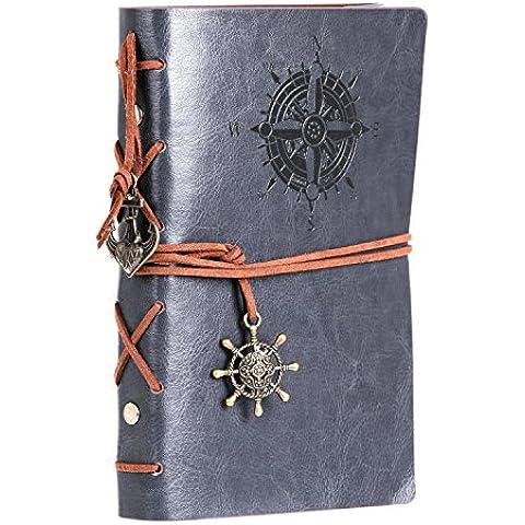 Homecube Vintage clásico PU cuero portátil recargable viaje hojas sueltas diario Nota libro diario uso