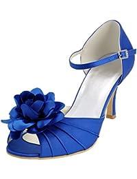 Chic Feet Damen-Pumps, für Hochzeitsfeier, Marineblau, mit Spitze, mittelhoher Absatz, blau - marineblau - Größe: 39.5