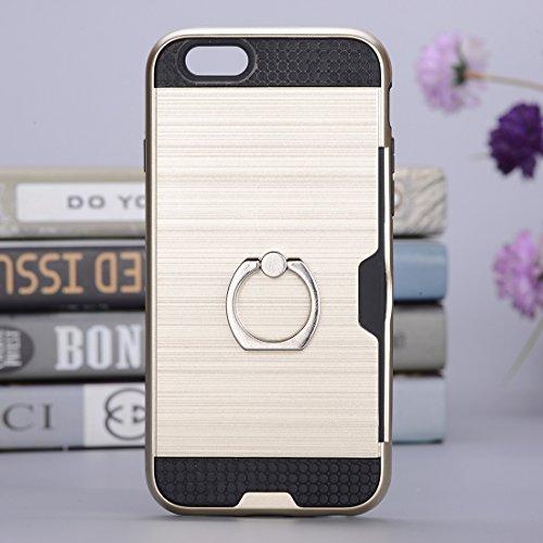 Wkae Texture Metall Schutzmaßnahmen zurück Fall mit Ring Halter Stand & Card Slot für iPhone 7 ( SKU : Ip7g5016dg ) Ip7g5016j
