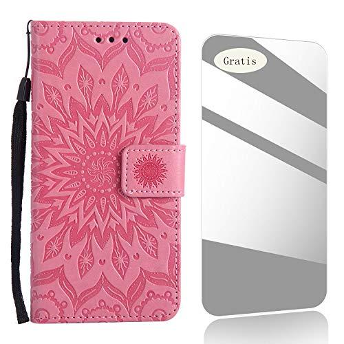 J5 2015 Hülle,THRION Lederhülle Handyhülle mit [Frei Schutzfolie],Premium PU Tasche Leder Flip Case Cover Schutzhülle für Samsung J5 2015 - Rosa