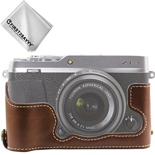 First2savvv marron oscuro Calidad premium Funda Cámara cuero de la PU cámara digital bolsa caso cubierta con correa para Fujifilm X-E3 XE3 XJPT-XE3-D10G11