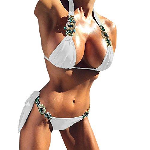 Sexy Kostüm Barbie - VJGOAL Damen Bikini Set Push Up Frauen Volltonfarbe Mode Strass Spitze Badebekleidung Sommer Sexy Beachwear Swimwear(Weiß,L)