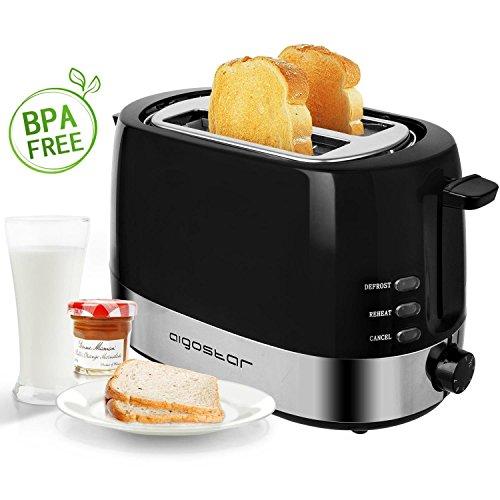 Aigostar Brotchen Black 30HIL - Toaster, 850W, 2-Scheibe mit einstellbarer Temperaturregelung, BPA frei. Exklusives Design.