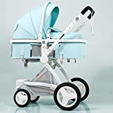 Cochecito plegable multifunción Cuna cochecito reversible Cochecitos Infant All Baby Carriage City Select Silla para niños pequeños para niña y niño PNYGJBYEC (Color : Blue)