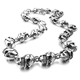 MunkiMix Groß Schwer Edelstahl Halskette Kette Link Silber Ton Schwarz Totenkopf Schädel Herren