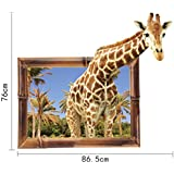 """CuteWallDesigns 3D Window Giraffe Wall Stickers For Kids Room Living Room """"Giraffe Popping Out Of Window"""" Ideal For Home, Boys, Girls, Nursery, Bedroom, Hall, Play School, Family Lounge, Cafe & Restaurant Decoration With Kids' Forest Theme F"""