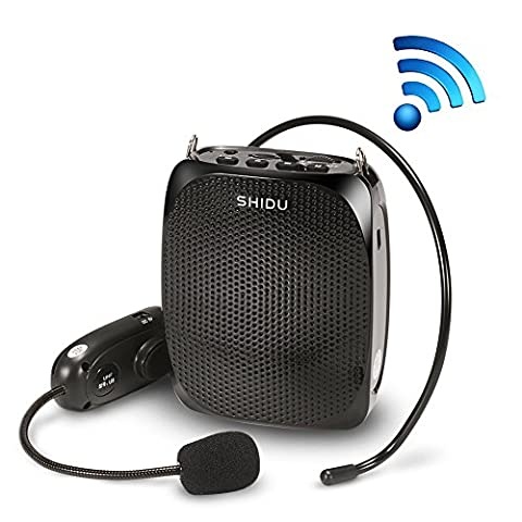 Boupower SHIDU 10 Watts UHF Wireless Voice Amplifier with Comfortable Headset Waist Neck Band and Belt Clip for Teachers,Tour Guides,Training,Meeting Support Recording TF Card,MP3 Format Audio and U