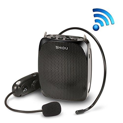 Acekool SHIDU Wireless Stimmverstärker Lautsprecher (10W) 1800mA mit Headset Mikrofon für Reiseführer, Lehrer, Trainer, Vorträge, Kostüme, Usw Schwarz